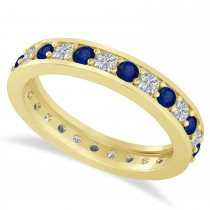 Diamond & Blue Sapphire Eternity Wedding Band 14k Yellow Gold (1.08ct)