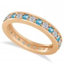 Diamond & Blue Topaz Eternity Wedding Band 14k Rose Gold (1.08ct)