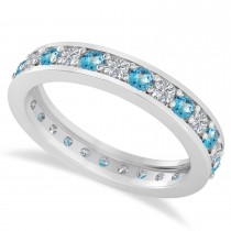 Diamond & Blue Topaz Eternity Wedding Band 14k White Gold (1.08ct)