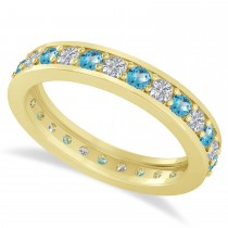 Diamond & Blue Topaz Eternity Wedding Band 14k Yellow Gold (1.08ct)