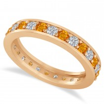 Diamond & Citrine Eternity Wedding Band 14k Rose Gold (1.08ct)
