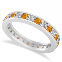 Diamond & Citrine Eternity Wedding Band 14k White Gold (1.08ct)