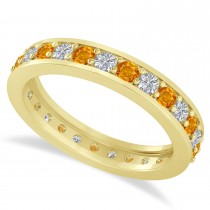 Diamond & Citrine Eternity Wedding Band 14k Yellow Gold (1.08ct)