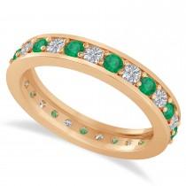 Diamond & Emerald Eternity Wedding Band 14k Rose Gold (1.08ct)