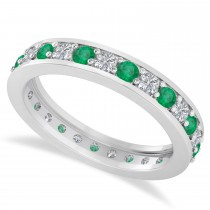 Diamond & Emerald Eternity Wedding Band 14k White Gold (1.08ct)
