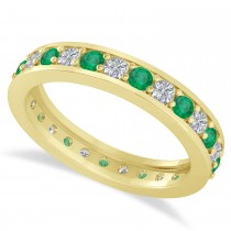 Diamond & Emerald Eternity Wedding Band 14k Yellow Gold (1.08ct)