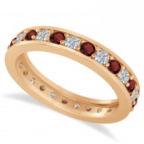 Diamond & Garnet Eternity Wedding Band 14k Rose Gold (1.08ct)