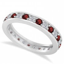 Diamond & Garnet Eternity Wedding Band 14k White Gold (1.08ct)