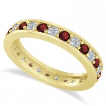Diamond & Garnet Eternity Wedding Band 14k Yellow Gold (1.08ct)