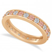 Diamond & Morganite Eternity Wedding Band 14k Rose Gold (1.08ct)