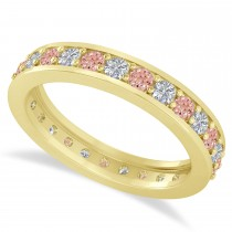 Diamond & Morganite Eternity Wedding Band 14k Yellow Gold (1.08ct)