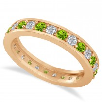 Diamond & Peridot Eternity Wedding Band 14k Rose Gold (1.08ct)