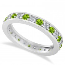 Diamond & Peridot Eternity Wedding Band 14k White Gold (1.08ct)