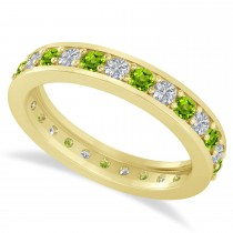 Diamond & Peridot Eternity Wedding Band 14k Yellow Gold (1.08ct)