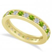 Diamond & Peridot Eternity Wedding Band 14k Yellow Gold (1.08ct)
