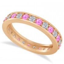 Diamond & Pink Sapphire Eternity Wedding Band 14k Rose Gold (1.08ct)