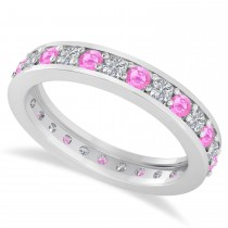 Diamond & Pink Sapphire Eternity Wedding Band 14k White Gold (1.08ct)