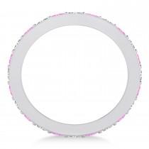 Diamond & Pink Sapphire Eternity Wedding Band 14k White Gold (1.08ct)