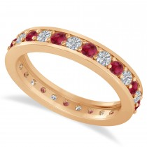 Diamond & Ruby Eternity Wedding Band 14k Rose Gold (1.08ct)