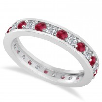Diamond & Ruby Eternity Wedding Band 14k White Gold (1.08ct)
