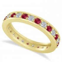 Diamond & Ruby Eternity Wedding Band 14k Yellow Gold (1.08ct)