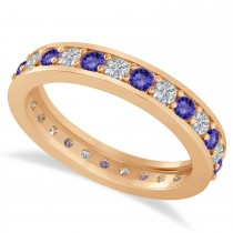 Diamond & Tanzanite Eternity Wedding Band 14k Rose Gold (1.08ct)