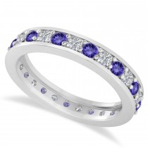 Diamond & Tanzanite Eternity Wedding Band 14k White Gold (1.08ct)