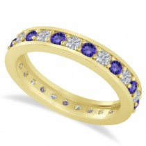 Diamond & Tanzanite Eternity Wedding Band 14k Yellow Gold (1.08ct)