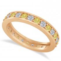 Yellow & White Diamond Eternity Wedding Band 14k Rose Gold (1.08ct)