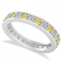Yellow & White Diamond Eternity Wedding Band 14k White Gold (1.08ct)