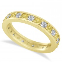 Yellow & White Diamond Eternity Wedding Band 14k Yellow Gold (1.08ct)
