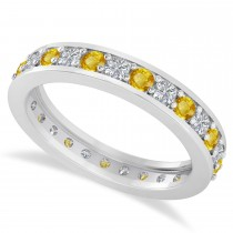Diamond & Yellow Sapphire Eternity Wedding Band 14k White Gold (1.08ct)
