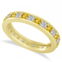 Diamond & Yellow Sapphire Eternity Wedding Band 14k Yellow Gold (1.08ct)