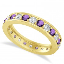 Diamond & Amethyst Eternity Wedding Band 14k Yellow Gold (1.44ct)