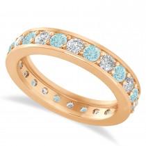 Diamond & Aquamarine Eternity Wedding Band 14k Rose Gold (1.44ct)