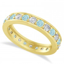 Diamond & Aquamarine Eternity Wedding Band 14k Yellow Gold (1.44ct)