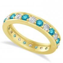 Blue & White Diamond Eternity Wedding Band 14k Yellow Gold (1.44ct)