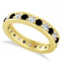 Black & White Diamond Eternity Wedding Band 14k Yellow Gold (1.44ct)