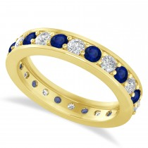 Diamond & Blue Sapphire Eternity Wedding Band 14k Yellow Gold (1.44ct)