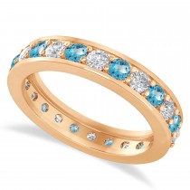 Diamond & Blue Topaz Eternity Wedding Band 14k Rose Gold (1.44ct)