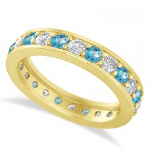 Diamond & Blue Topaz Eternity Wedding Band 14k Yellow Gold (1.44ct)