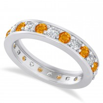 Diamond & Citrine Eternity Wedding Band 14k White Gold (1.44ct)