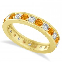 Diamond & Citrine Eternity Wedding Band 14k Yellow Gold (1.44ct)