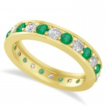 Diamond & Emerald Eternity Wedding Band 14k Yellow Gold (1.44ct)