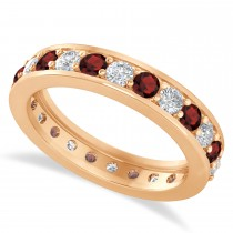 Diamond & Garnet Eternity Wedding Band 14k Rose Gold (1.44ct)