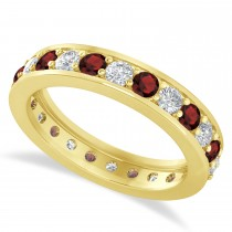 Diamond & Garnet Eternity Wedding Band 14k Yellow Gold (1.44ct)