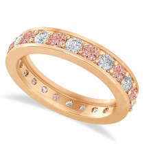 Diamond & Morganite Eternity Wedding Band 14k Rose Gold (1.44ct)