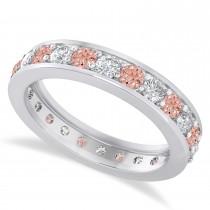 Diamond & Morganite Eternity Wedding Band 14k White Gold (1.44ct)