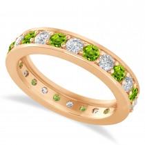 Diamond & Peridot Eternity Wedding Band 14k Rose Gold (1.44ct)