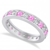 Diamond & Pink Sapphire Eternity Wedding Band 14k White Gold (1.44ct)